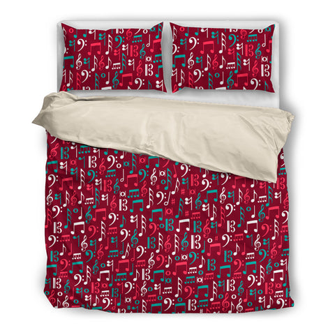 Red Box of Music Notes Bedding Set