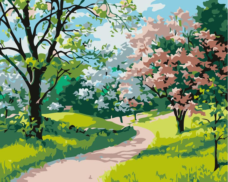 landscape spring  Diy oil painting by numbers - Wolrdiscounts
