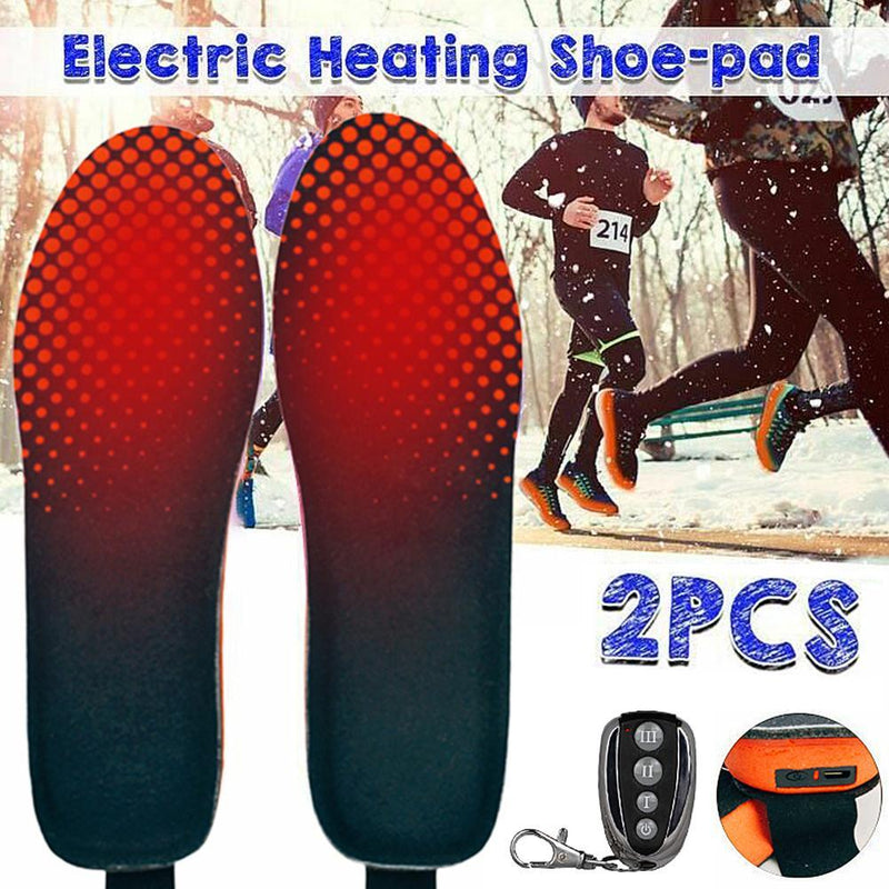 1 PAIR WINTER REMOTE CONTROL RECHARGEABLE HEATED SHOE INSOLES FOOT WARMING PAD
