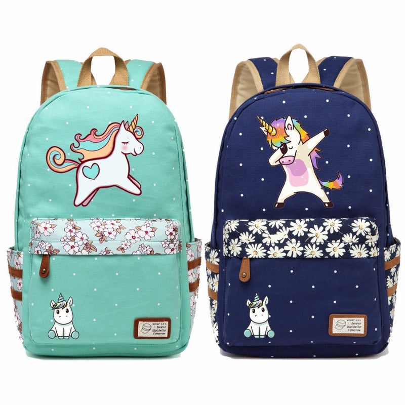 Cute Cartoon Unicorn Canvas Backpack - Wolrdiscounts