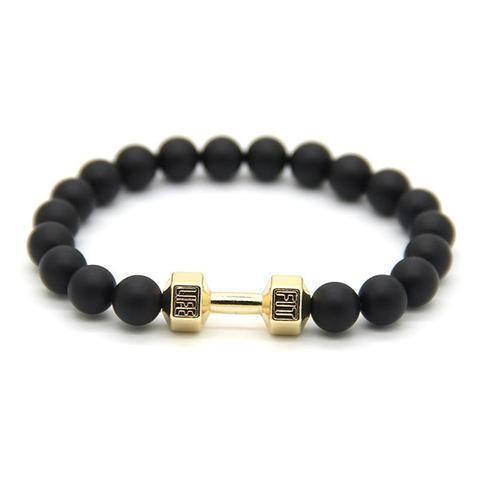 BLACK & GOLD DUMBBELL FIT LIFE BRACELET - Excelsior