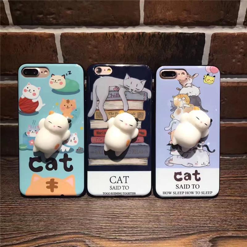 3D Cute Soft Silicone Squishy Cat Phone Case - Wolrdiscounts