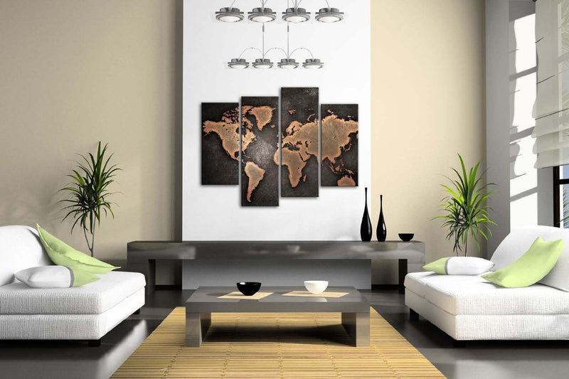 Black World map panel painting - Wolrdiscounts