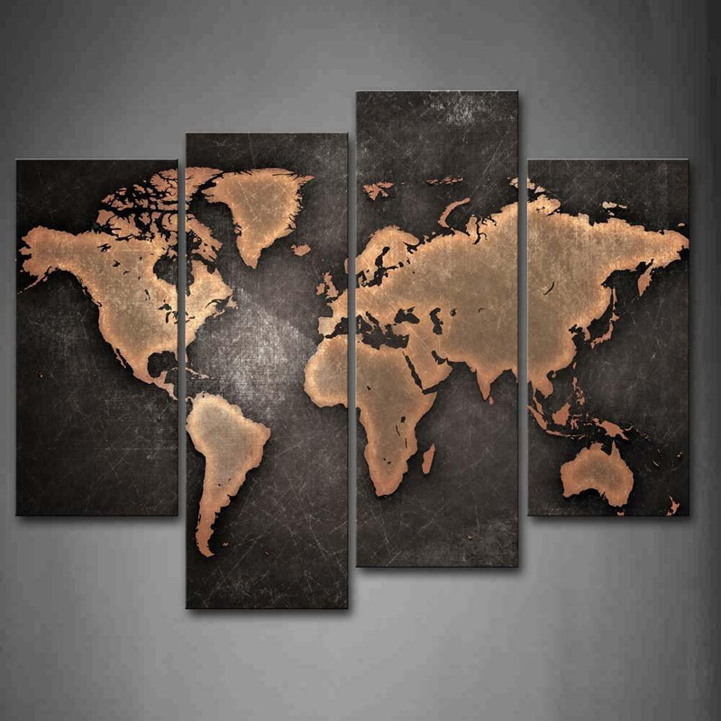 Black Background  World map panel painting - Wolrdiscounts