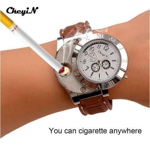 ELECTRONIC LIGHTER USB QUARTZ WATCH - Wolrdiscounts