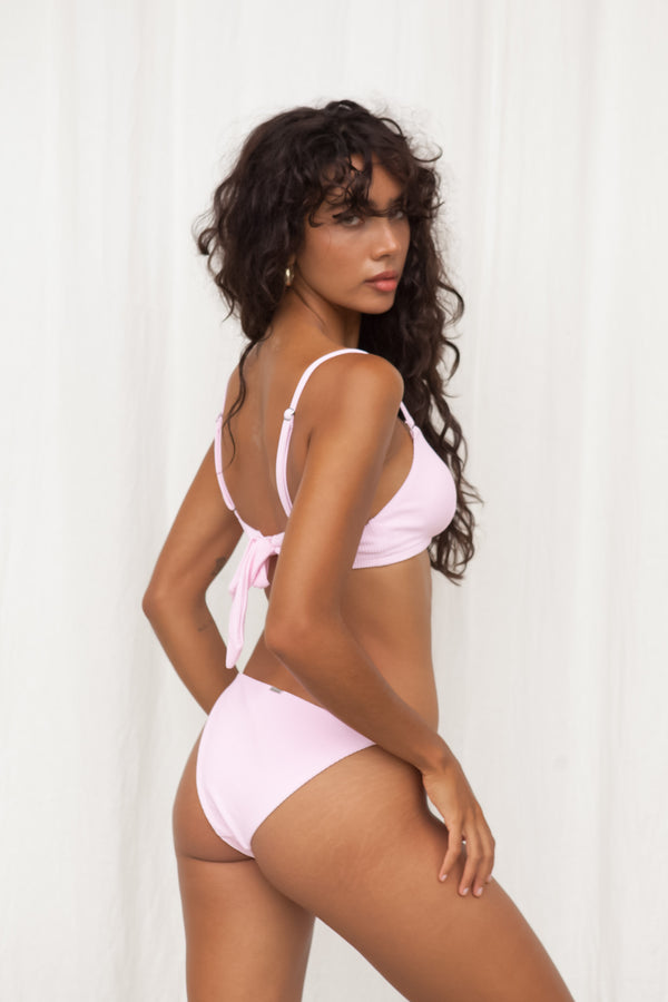 Ribbed String Side Bottom - Pink