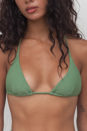 Ribbed Triangle Top - Sage
