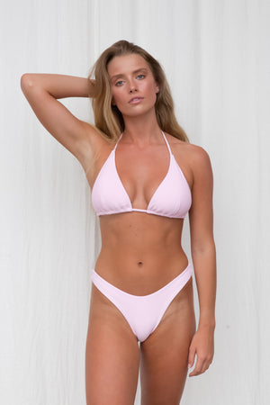 Ribbed Triangle Top - Pink