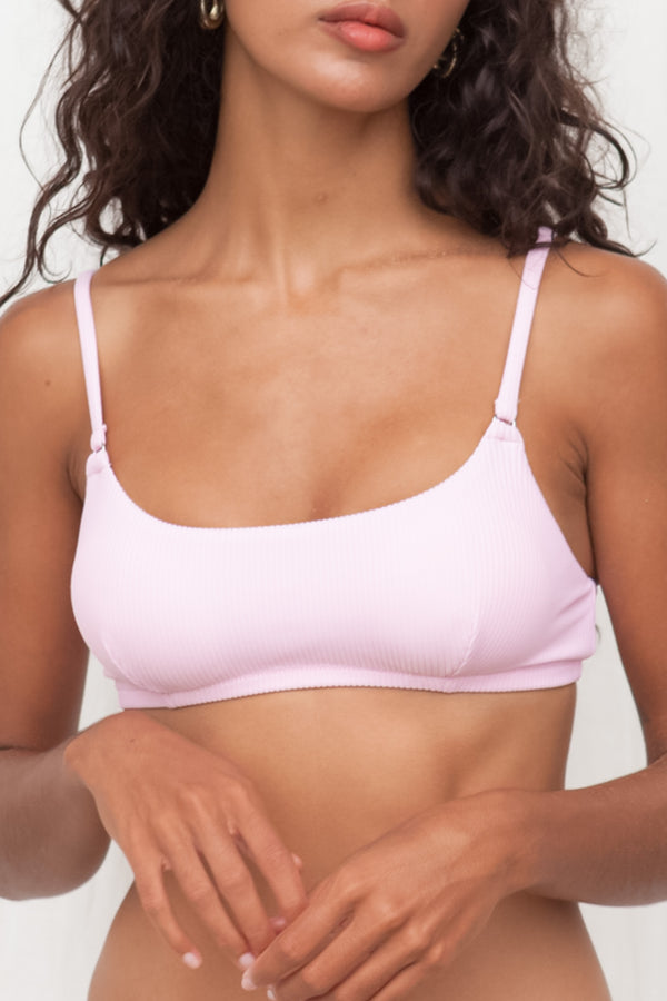 Ribbed Bralette Top - Pink