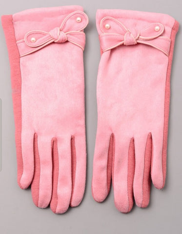 Pink Bow Gloves