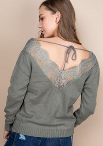 All Curled Up Lace Back Sweater