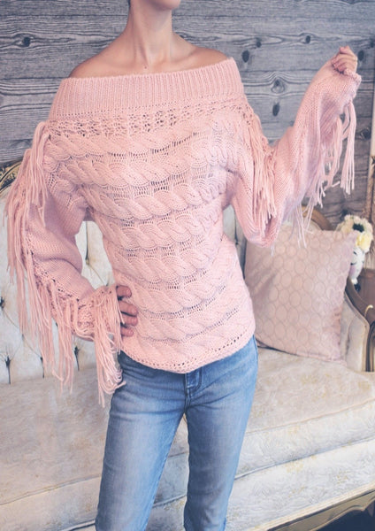 Cableknit Fringe Sweater