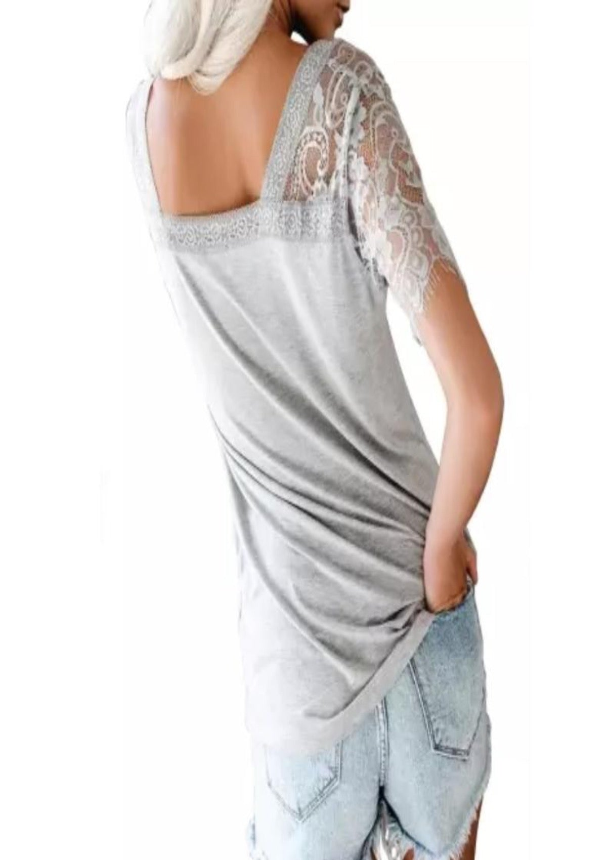 Mad About You Lace Sleeve Tee