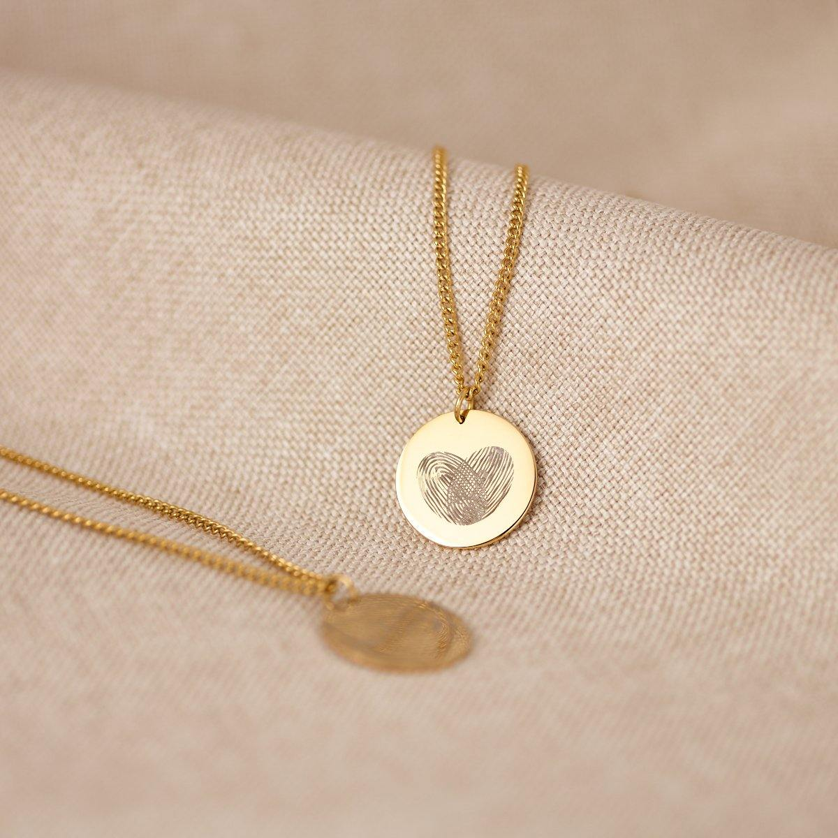 Coin 2 Fingerprints Necklace - Duton Gepersonaliseerde sieraden