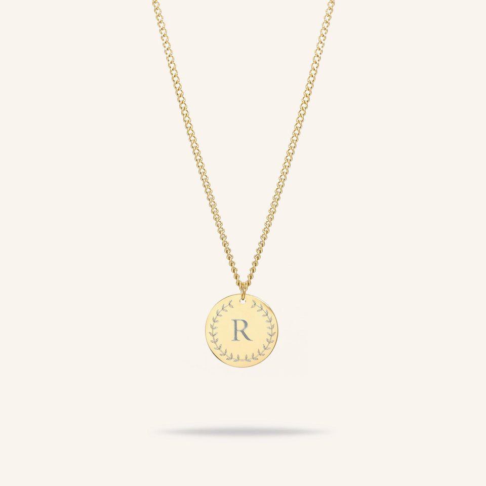 Coin One Initial Necklace