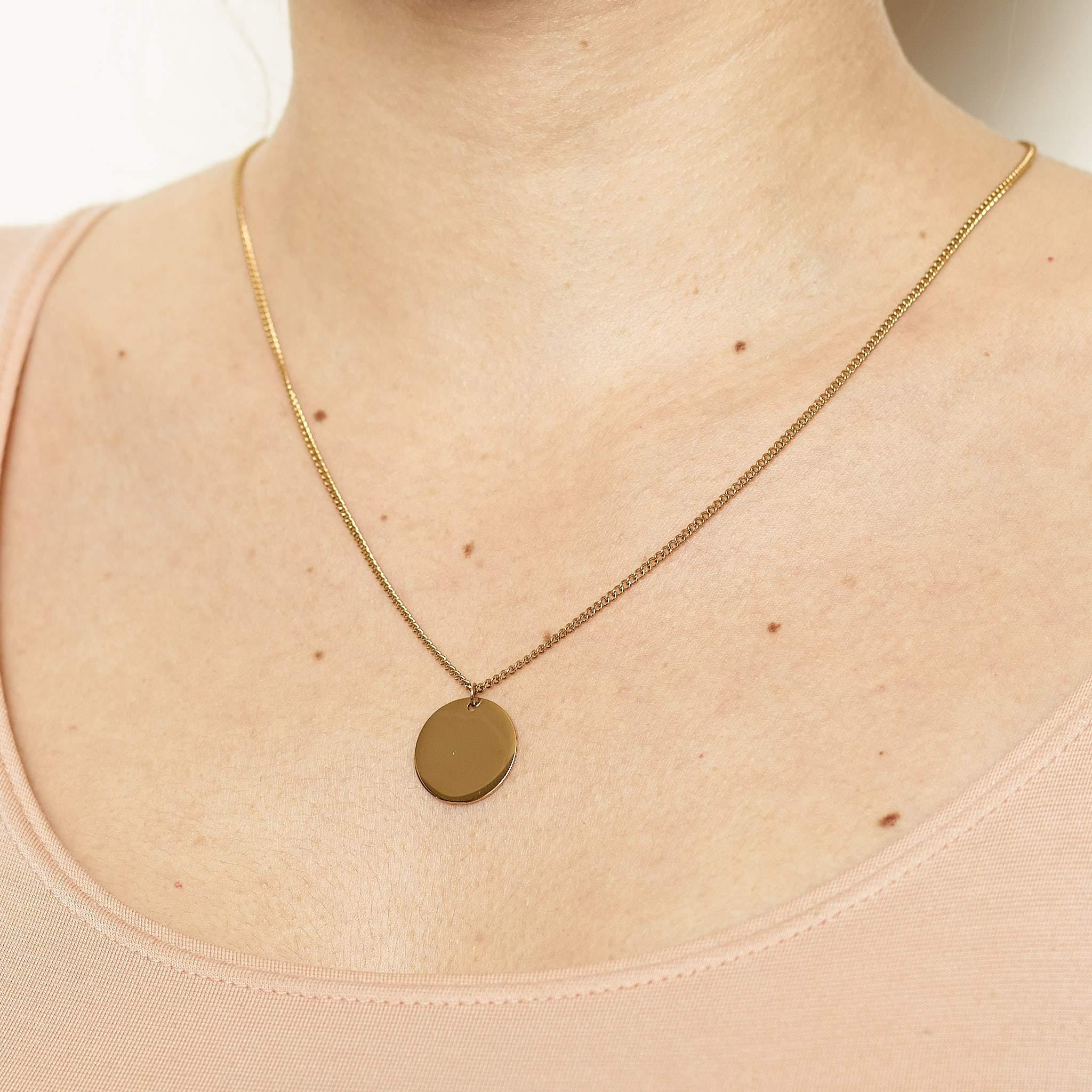Coin Text Necklace