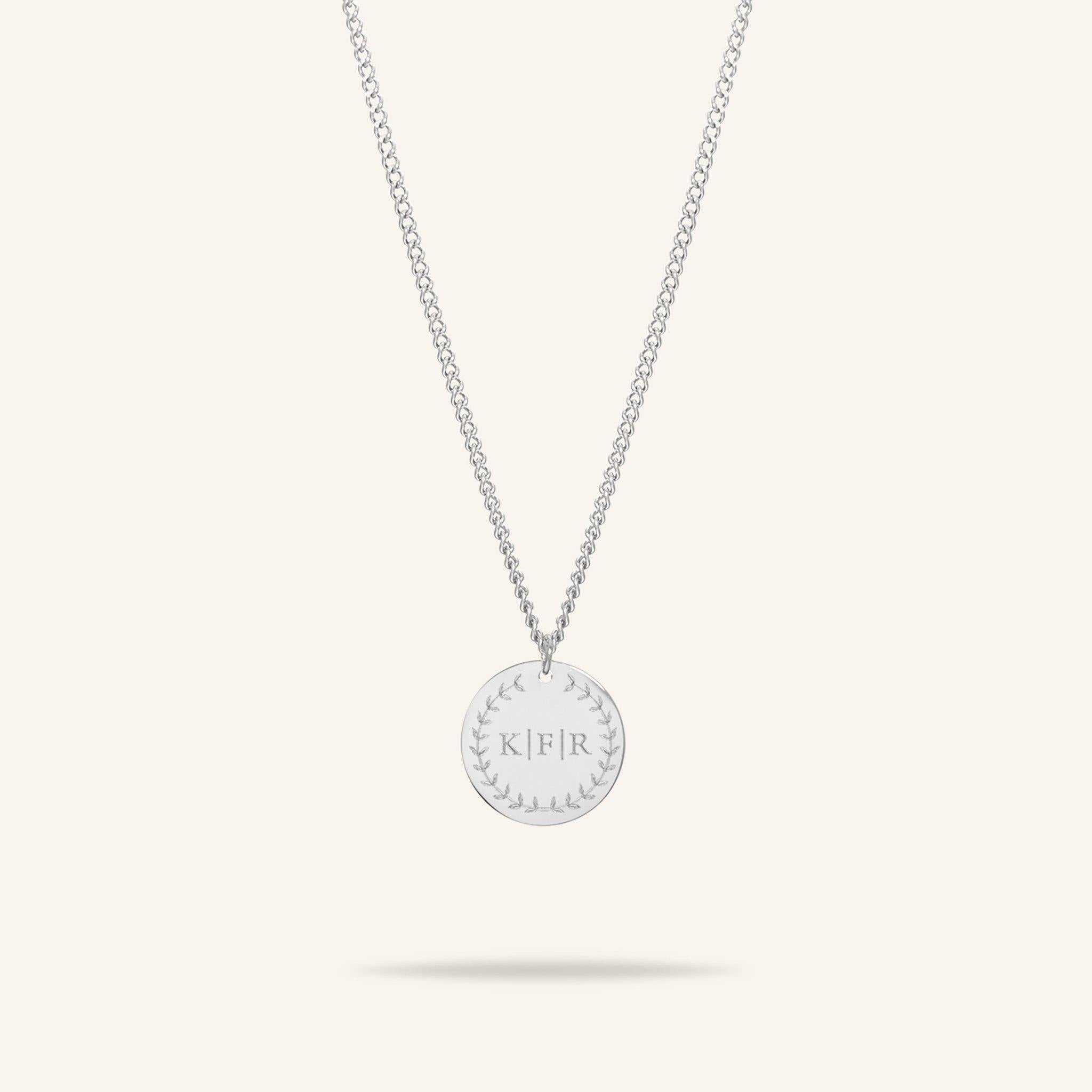 Coin Three Initial Necklace