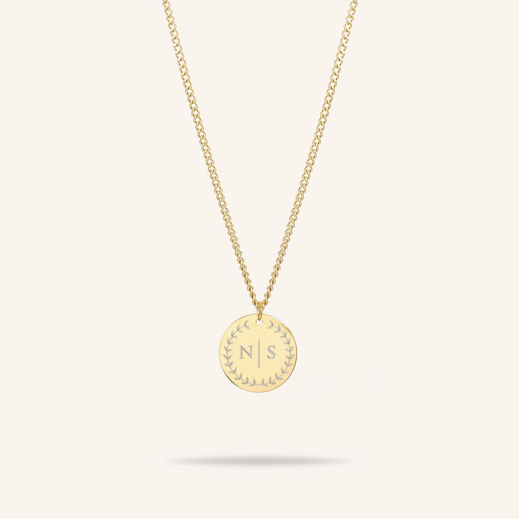 Coin Two Initial Necklace