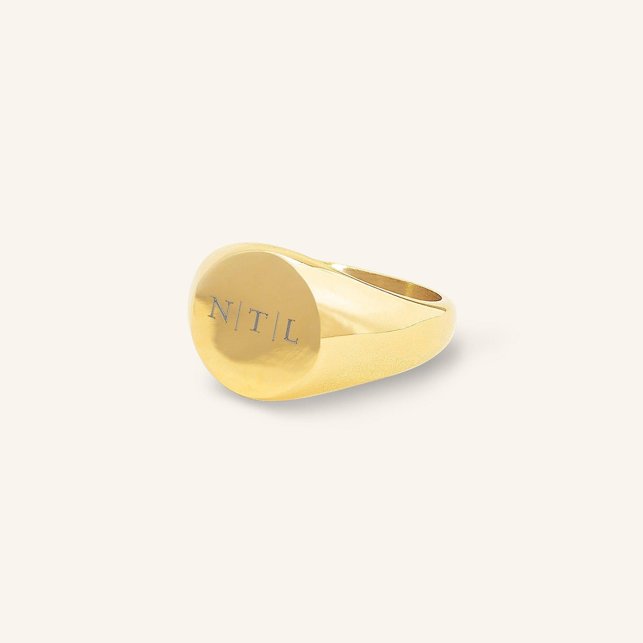 Three Initials Signet Ring