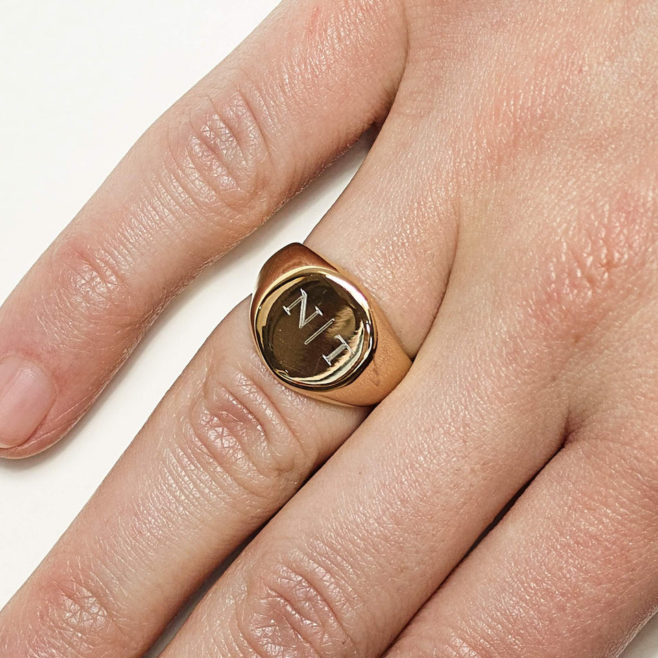 Two Initials Signet Ring