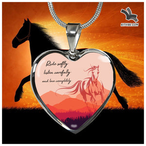 Ride Listen Love Heart Necklace