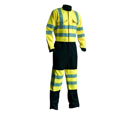 FR Hi Vis Boilersuit Arc Class 2 Yellow / Navy