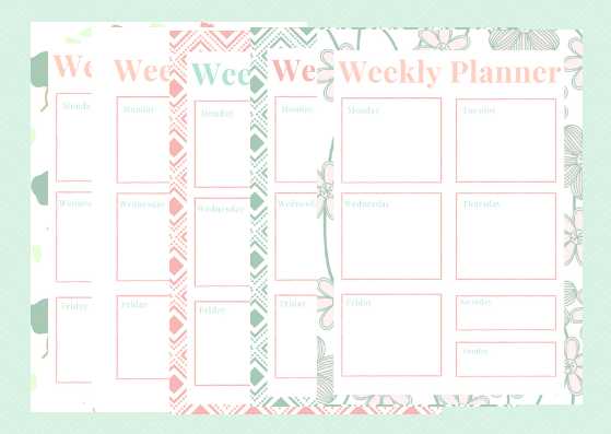 Weekly Planner Set - 5 designs