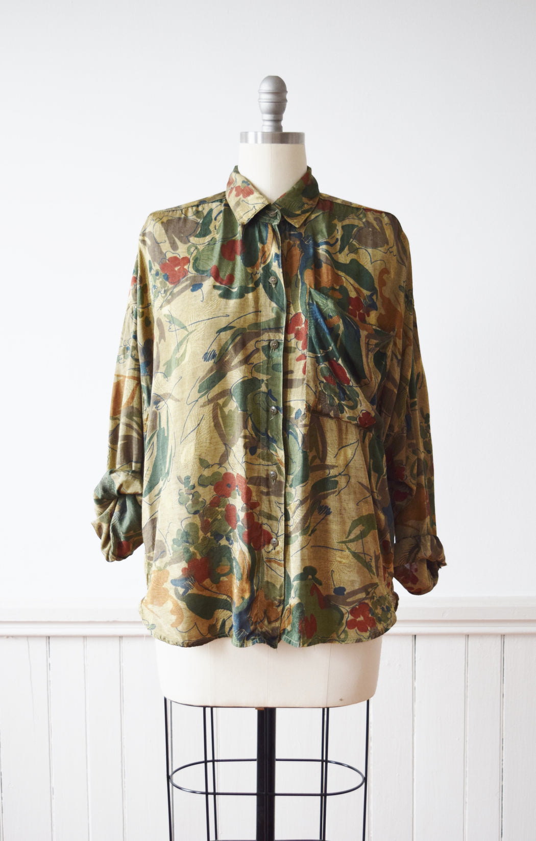 Golden Abstract Floral Top | 1980s | M
