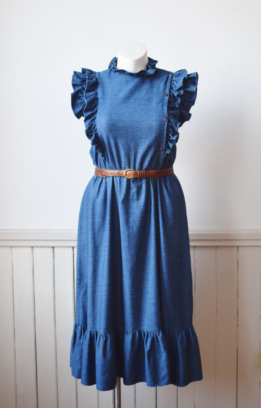 Denim Ruffle Dress | L