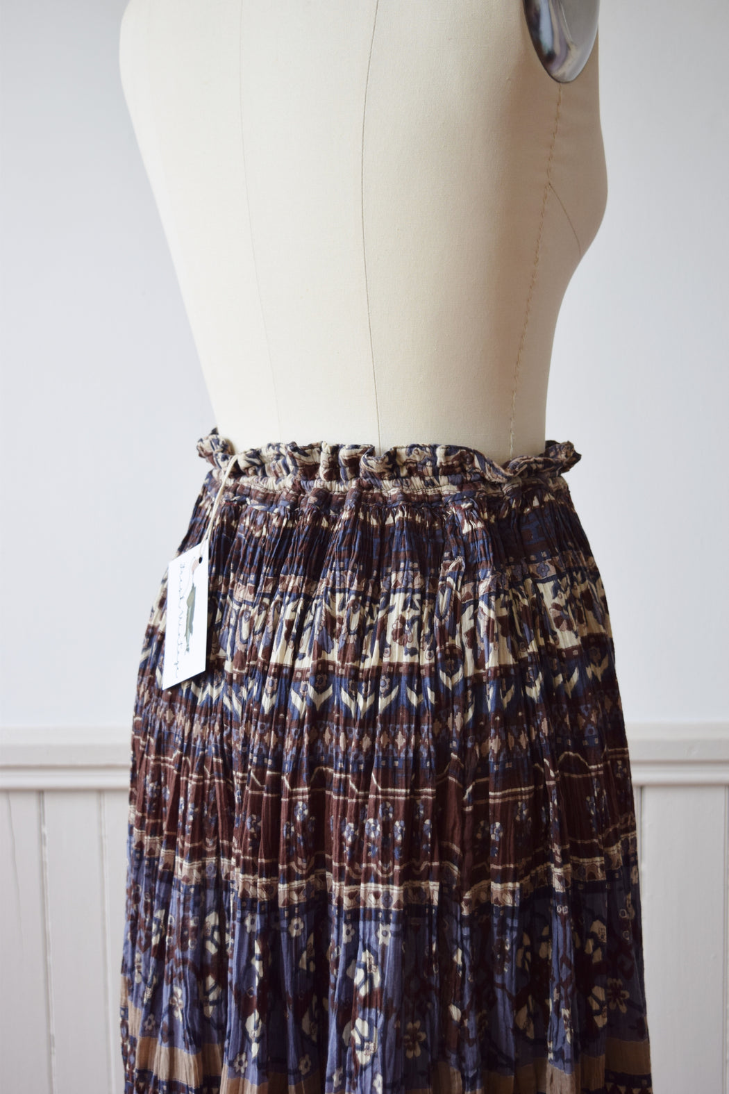 Indian Cotton Crinkle Skirt | 1980s | L