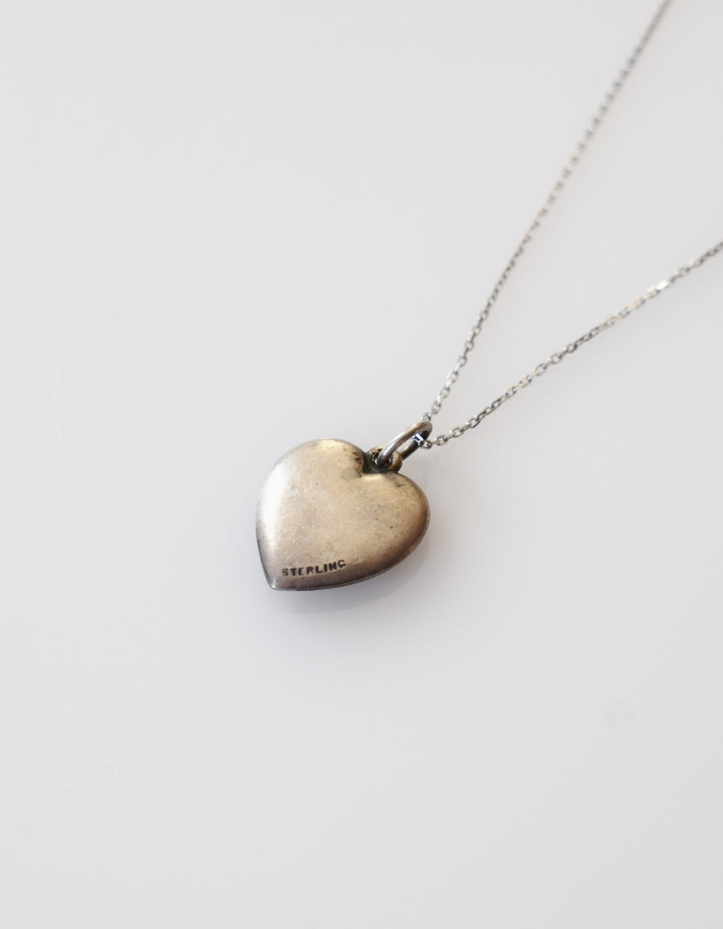 Vintage Silver Bluebird Heart Charm Necklace