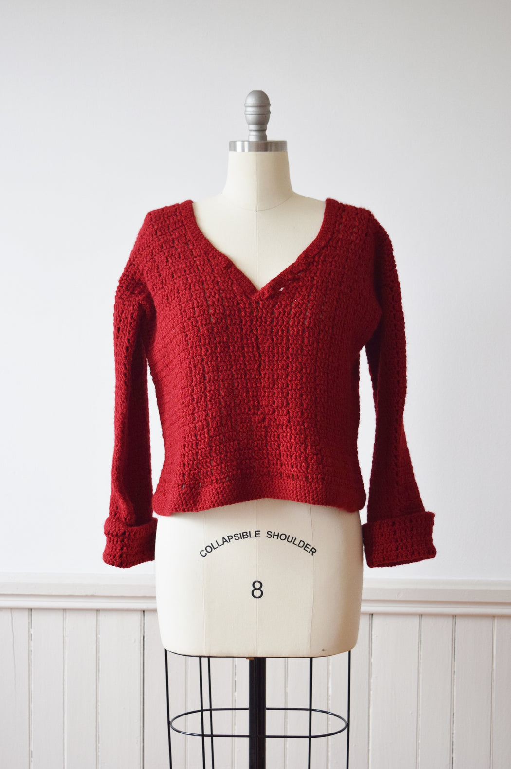 1970s Hand Crocheted Ox Blood Red Sweater | S/M