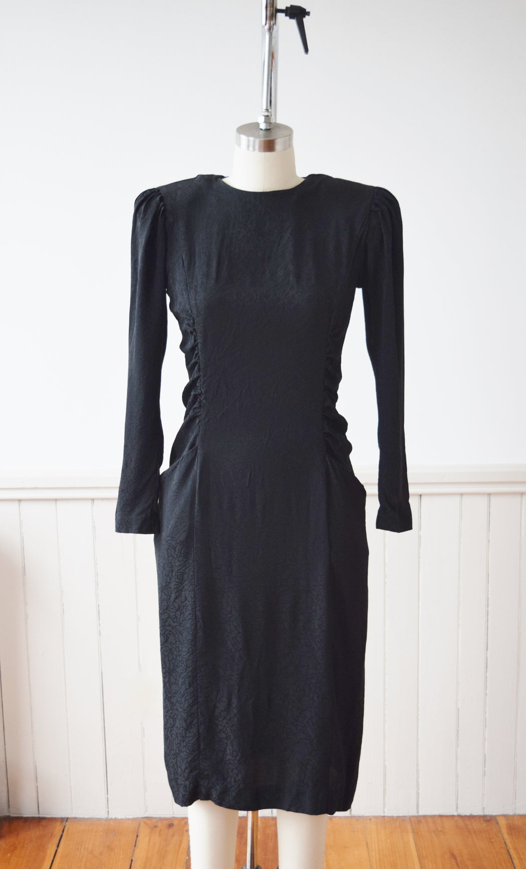 1990s Black Marble Silk Dress | S/ M