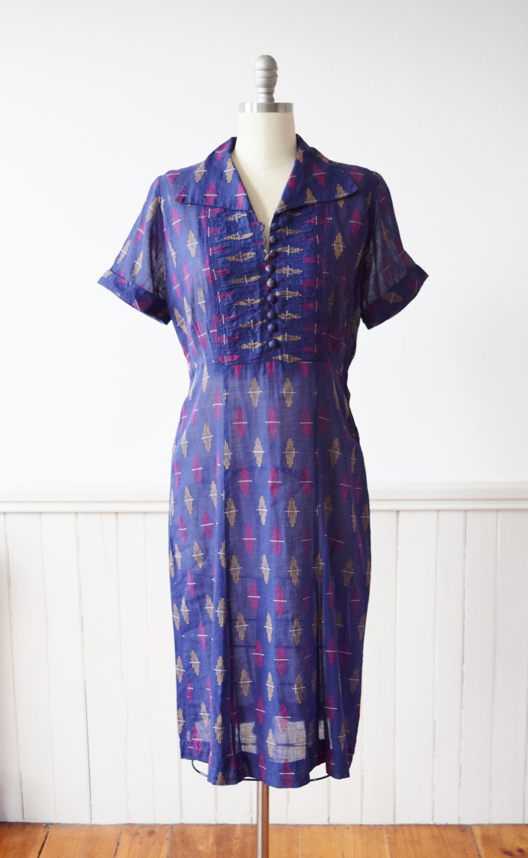1940s Woven Primary Color Cotton Frock | M/L