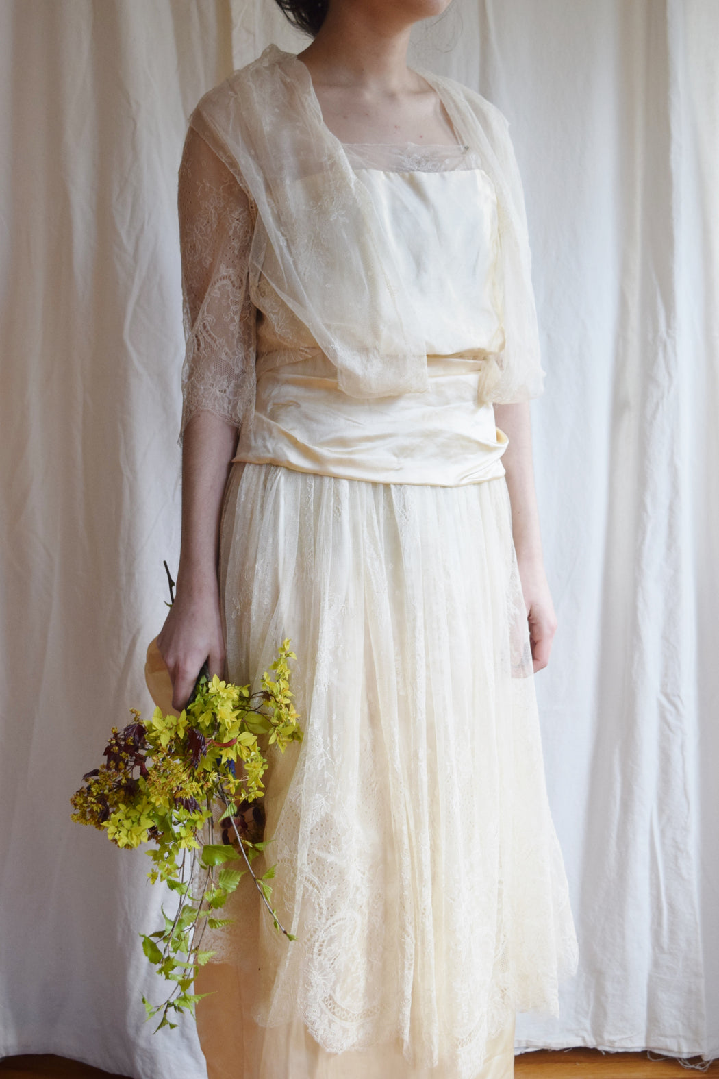 Late 1910s / early 1920s Silk Satin and Lace Couture Wedding Dress  | Antique Wedding Dress | Silk Satin and Lace | Xsmall - Small