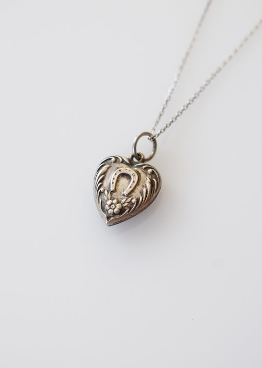 Vintage Silver Horseshoe Heart Charm Necklace