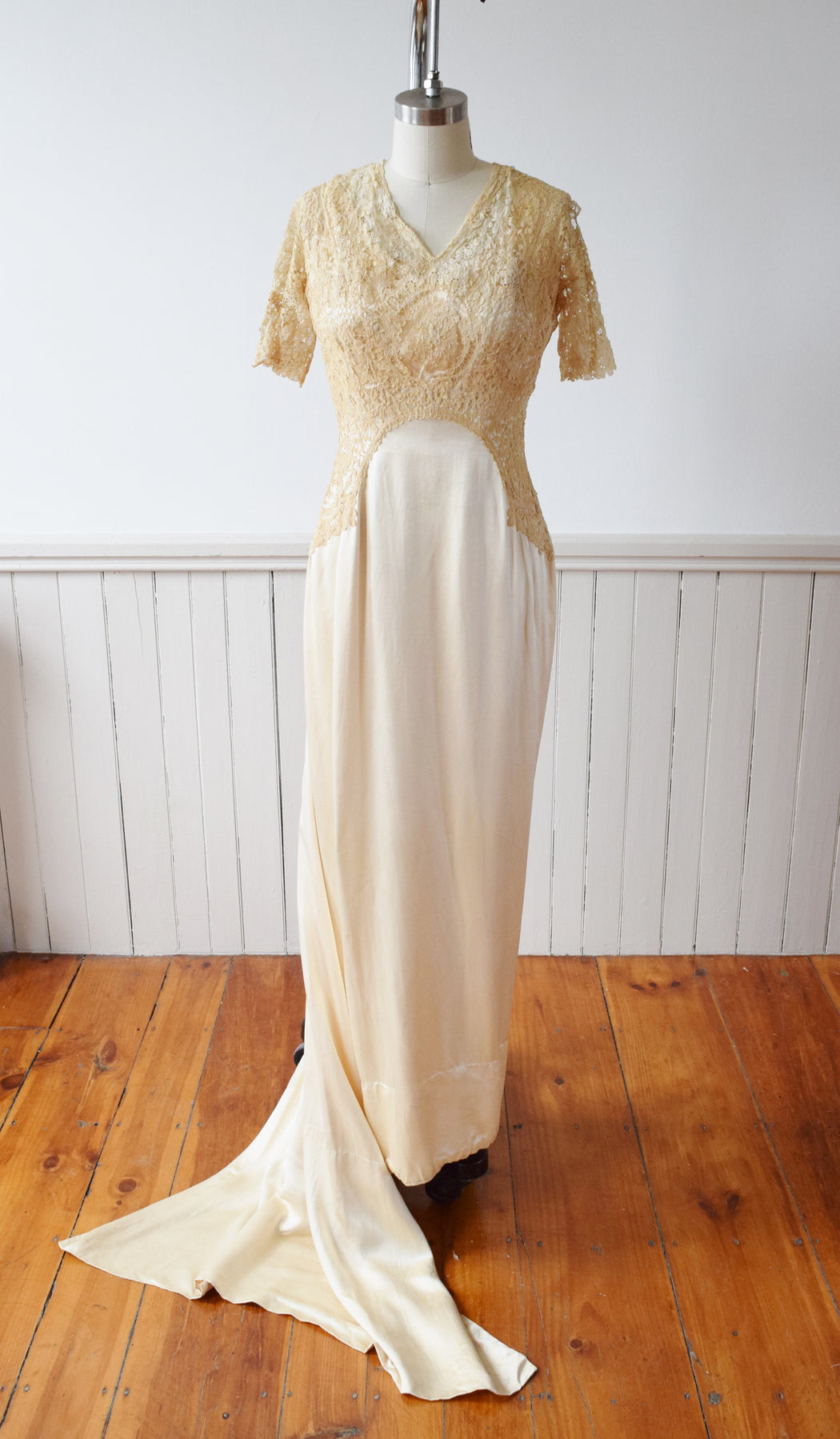 Antique Silk Satin and Lace Edwardian Wedding Gown | 1910s | XS
