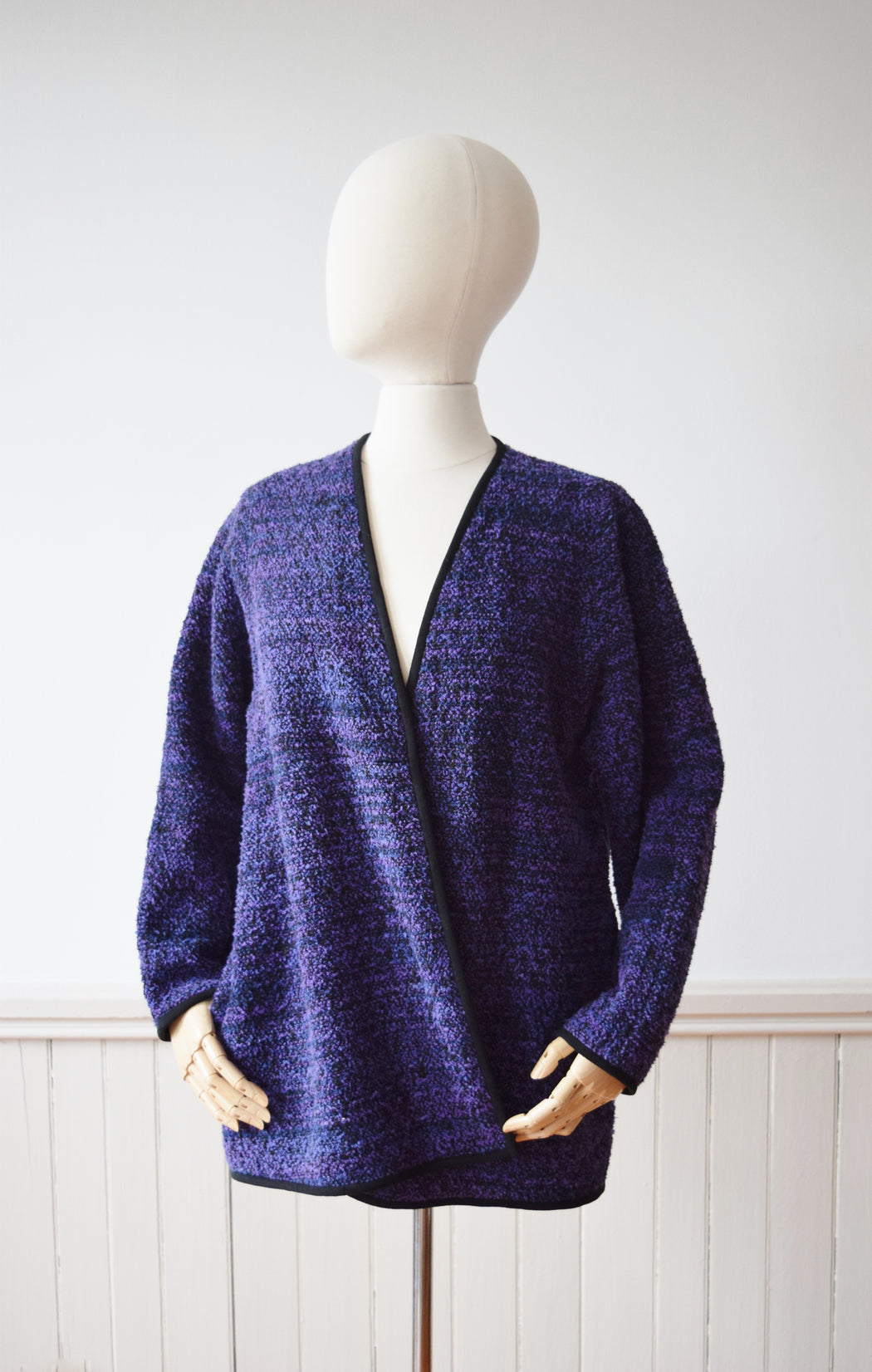 Loom Woven Purple Cotton Boucle Cardigan and Scarf | M/L