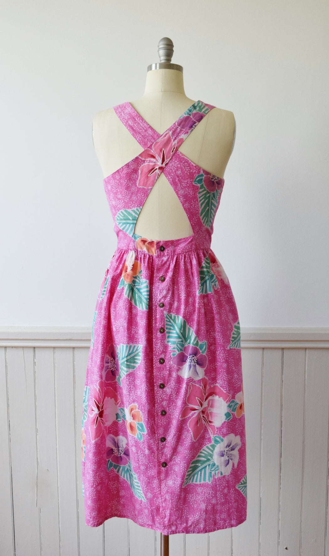 Island Breeze Cut Out Back Sun Dress by Java Wraps | 1980s | M+