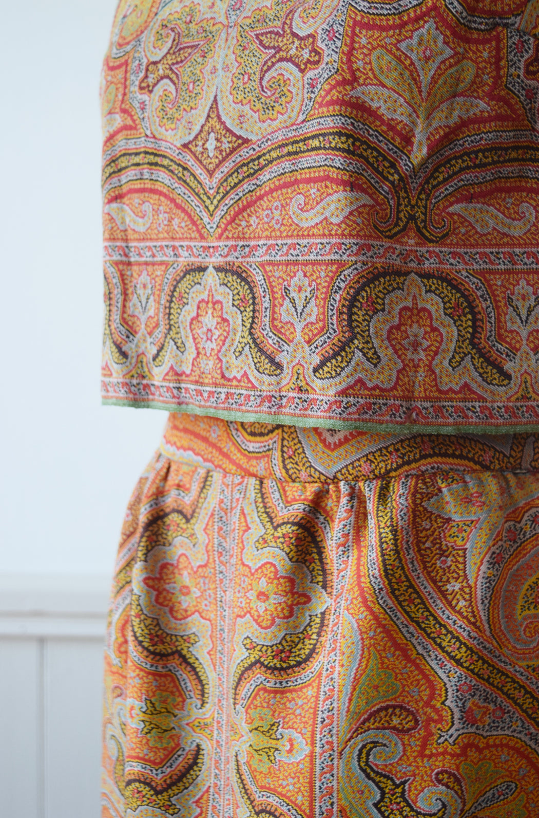 1960s Dress Set Sewn from Antique Kashmir Paisley Shawl | XS/S