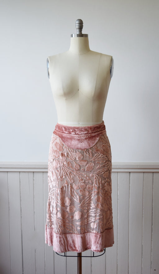 Marc Jacobs Pink Burnout Velvet Skirt | Modern | M