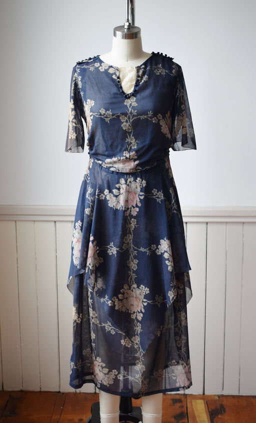 1910s Floral Day Dress | XS