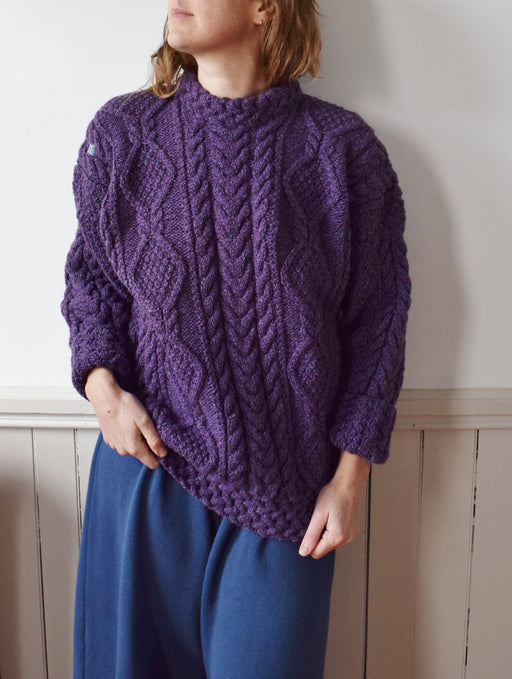 Vintage Irish Wool Cableknit in Plum | Hand Darned | M-L