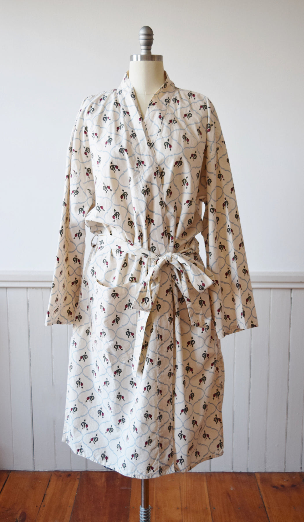 Wilted Rose Print Cotton Wrapper | Robe | Duster