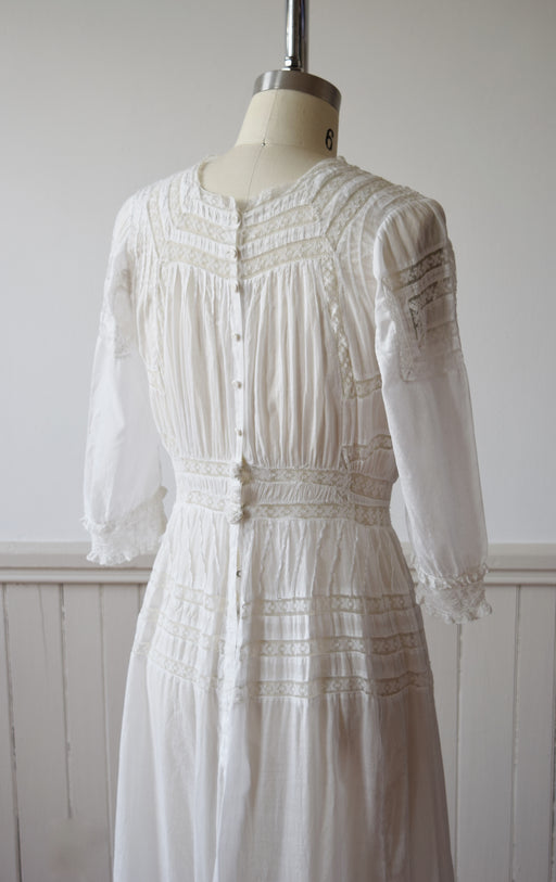 Edwardian Cotton and Lace Gown | 1910s | Small