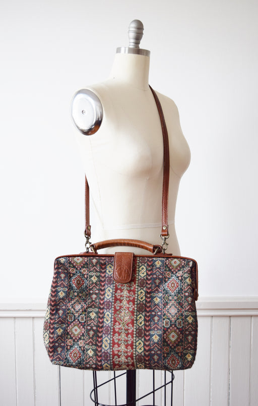 Vintage Carpet Bag Purse | 1980s/90s