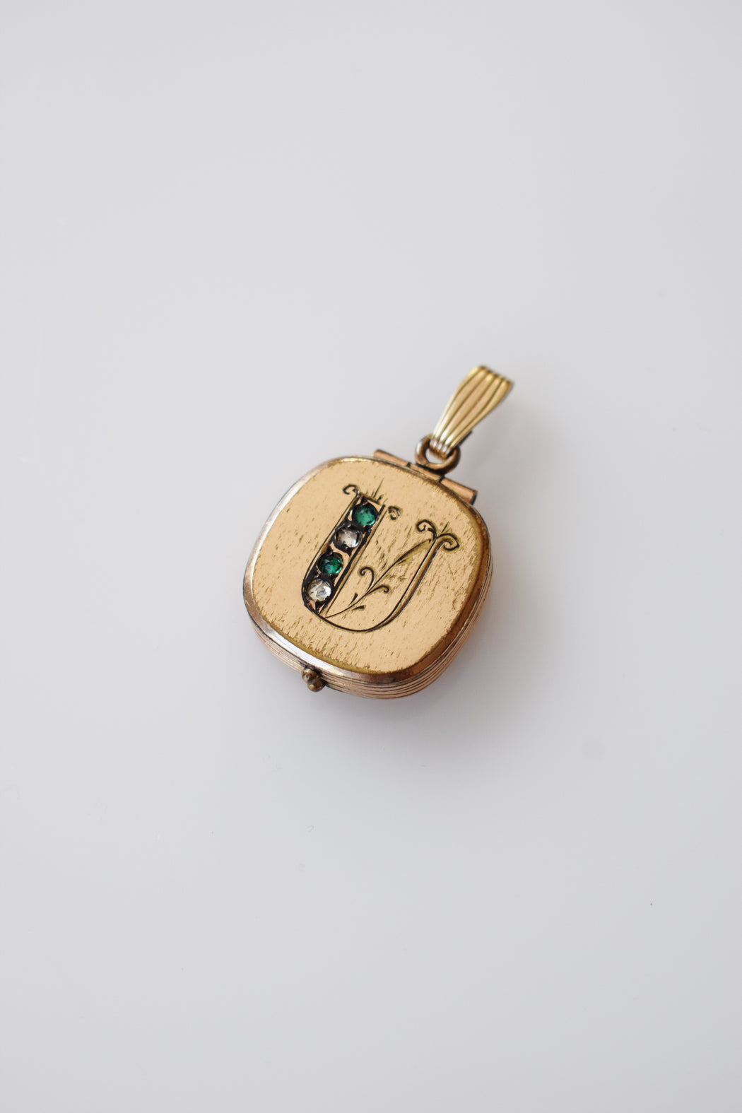 "Antique Gold + Rhinestone ""U"" Locket"