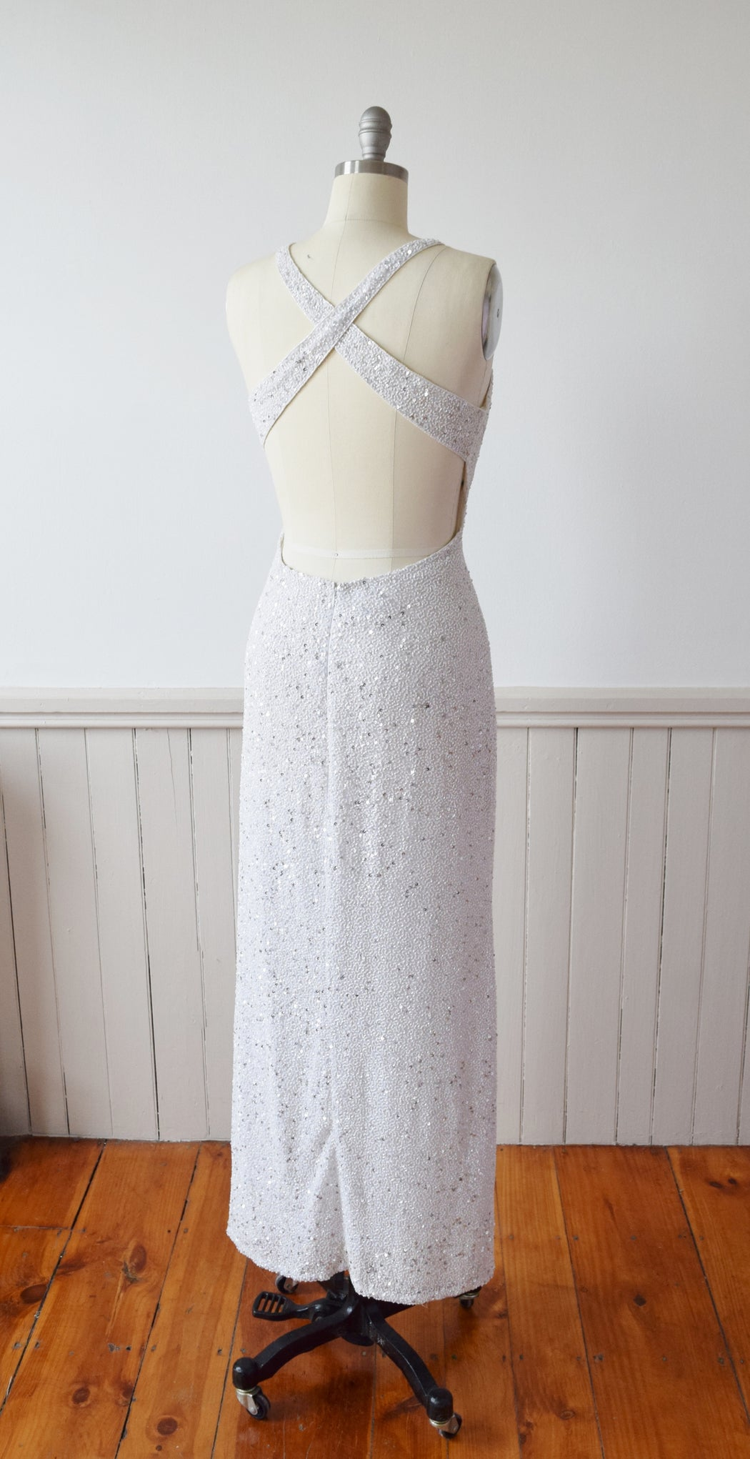 Fully Beaded Backless Silk Column Gown | 1990s | M/L