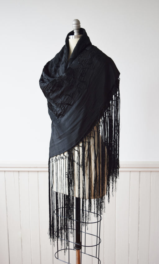 Antique Embroidered Black Silk Piano Shawl