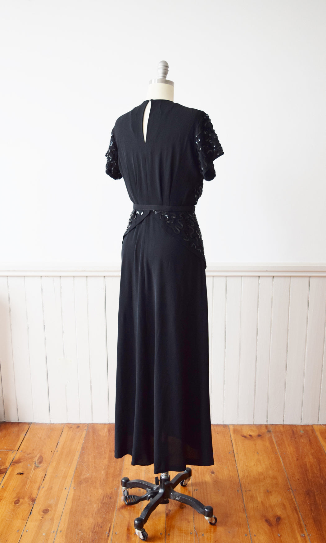 1940s Sequined Black Rayon Gown |  M-L